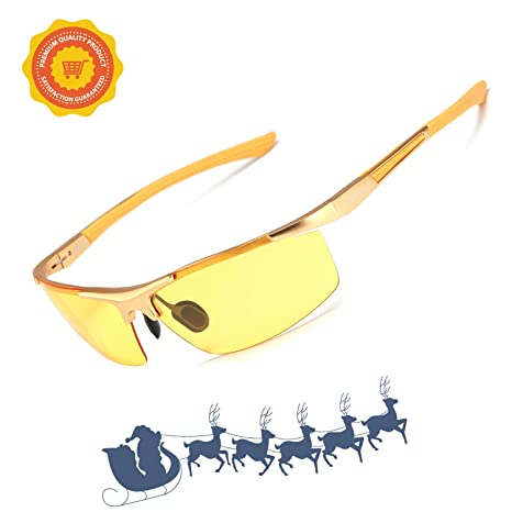 5ae19eefd4 Soxick Men s HD Polarized Night Driving Glasses Anti Glare Safety Glasses  (Gold Frame Yellow