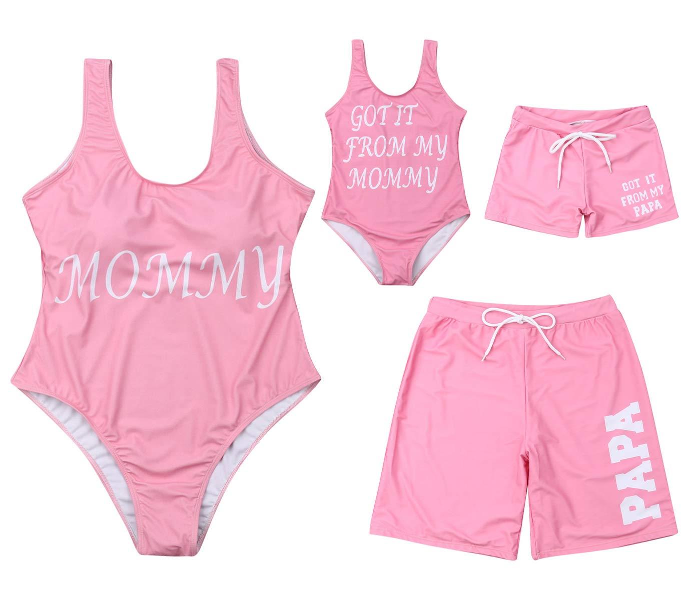 Family Matching Beachwear Mommy&GOT IT from My Mommy 1-Piece Swimsuit PAPA&GOT IT from My PAPA Swim Shorts