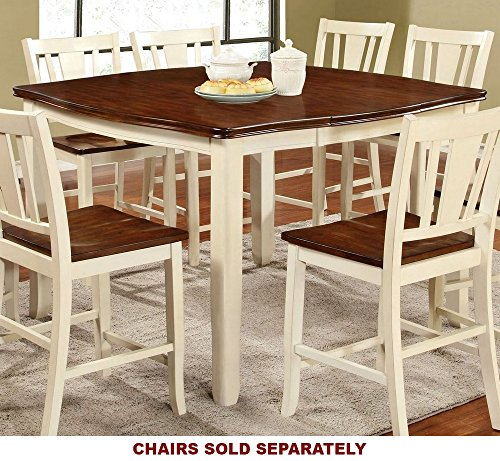 Furniture of America CM3326WC-PT Dover II Extendable Counter Height Table Dining (With Chairs Table Expandable Pub)