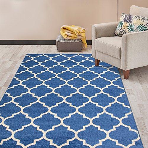 (Rugshop Contemporary Modern Moroccan Trellis Area Rug 5' x 7' Blue)