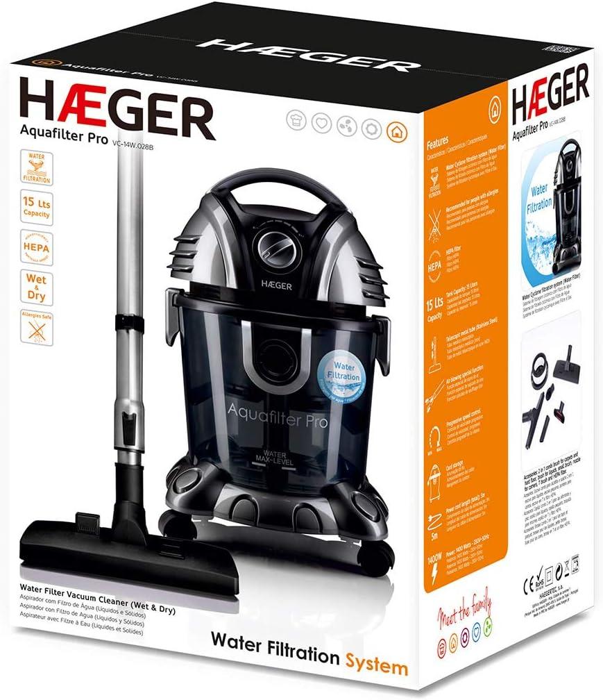 HAEGER AQUAFILTER PRO - Aspirador con Filtro de Agua con 1400W de potencia, capacidad de 15L - sistema de filtración con filtro de agua + filtro hepa: Amazon.es: Hogar