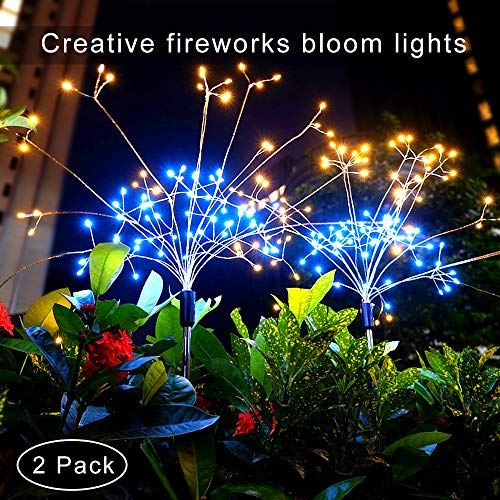 Outdoor Solar Garden Decorative String Lights,Upgraded Bright LED Solar Powered 8Modes Landscape Stake Lights,DIY Larger Flowers Trees Jellyfishs for Pathway Deck Fence Patio Christmas Decoration
