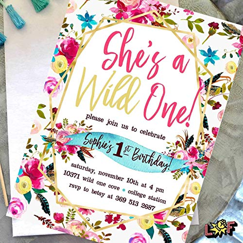 Wild One Birthday Invitations Girl - 1st Birthday