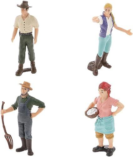 2pcs Simulation Farmer Man People Model Action Figures Toy Showcase Display