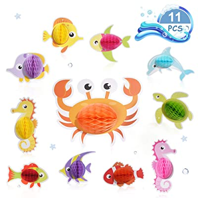 YLDW Hanging Tissue Ocean Fish Decorations Party Decor, 11pcs Tropical Fish Honeycomb Centerpieces, Hanging Decor for Birthday Party Decoration, Party Supplies for Kids, Photo Booth Props: Toys & Games