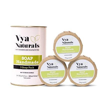 Tres piezas de barras de jabón hecho a mano natural con aceite de coco, leche