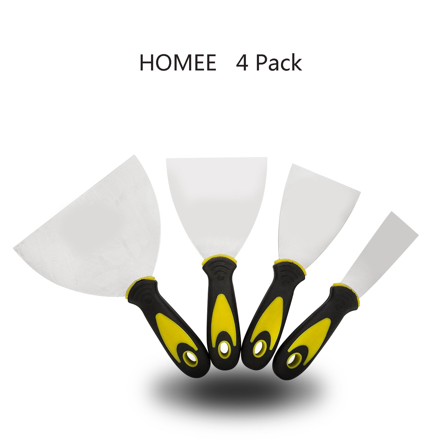 """4 pack Putty Knife set Drywall Taping Flexible Stainless Steel Taping Knives Carbon Steel Scraping Walls Floors Tile & More Size 2"""" 3"""" 4"""" 5"""""""