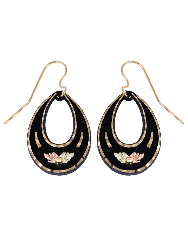 Open-Cut Teardrop Earrings, Black Powder Coat, 10k Yellow Gold, 12k Rose and Green Gold Black Hills Gold Motif