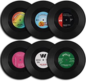 homEdge Vinyl Record Coasters, 6 Pieces of Retro Style Vinyl Coasters