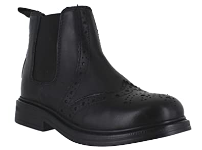 8805b40bf6056 Catesby Boys Junior Infants Leather Dealer Pull On Brogue Chelsea Boots  Black UK 1 (