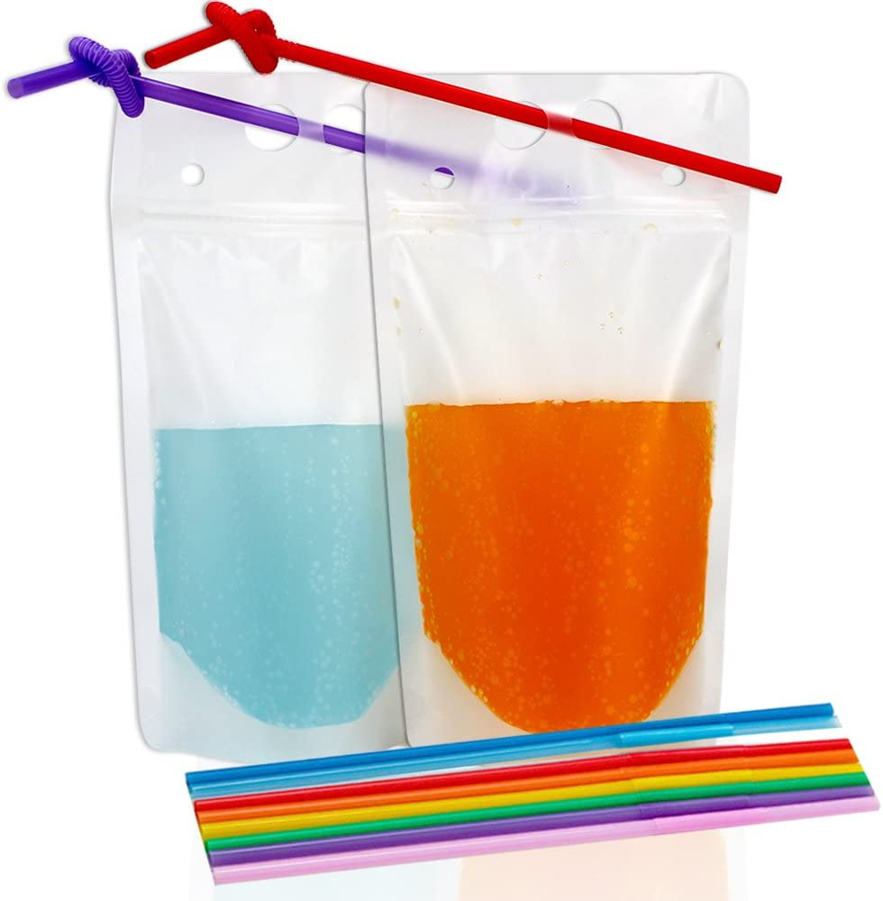 50Pcs One//Two Cups Beverage Carry Out Clear Plastic Packaging Bags Pouches