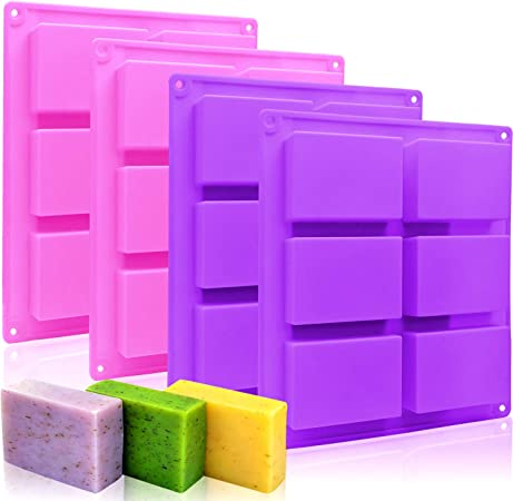 Muffin 6 Cavities Baking Silicone Mold for Cake Pudding DIY Handmade Craft Ice Cube Tray 1 Pcs Brownie and Soap Making Rectangle Silicone Soap Mold