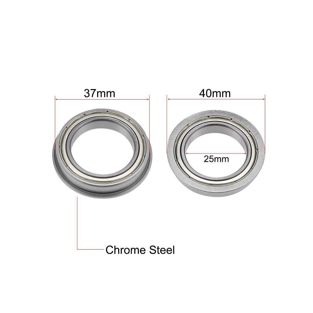 sourcing map F6700ZZ Flange Ball Bearing 10x15x4mm Shielded Chrome Bearings 5pcs