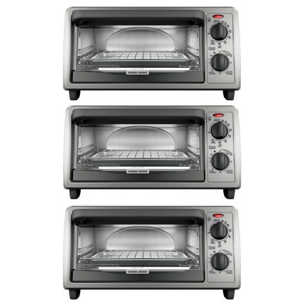 BLACK+DECKER 4-Slice Countertop Toaster Oven, Stainless steel Silver TO1322SBD 3 pack