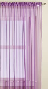 Editex Home Textiles Monique Sheer Window Panel, 55 by 63-Inch, Lilac