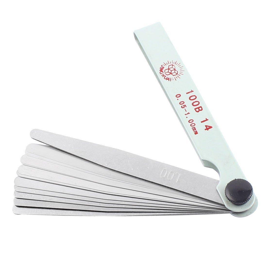 sourcingmap® 100B-14 4' Largo 0, 05-1, 00mm Espesor 14 Hojas herramienta de medición de espesores Medidor 00mm Espesor 14 Hojas herramienta de medición de espesores Medidor US-SA-AJD-350998