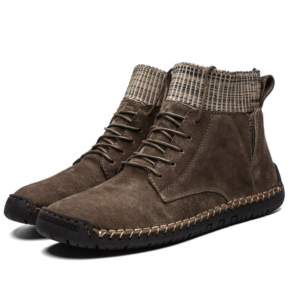 TIFENNY Mens Fashion Shorts Boots Casual Plush Velvet Warm High-Top Socks Locomotive Tooling Shoes Winter Sneakers
