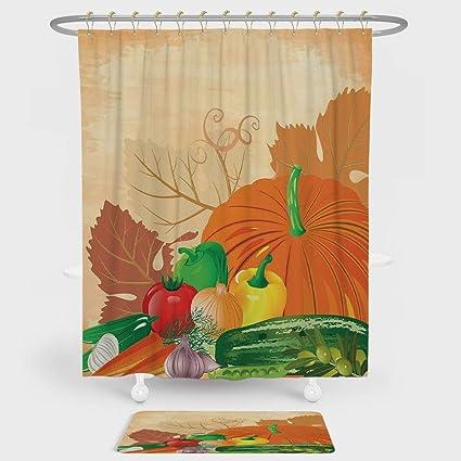 Harvest Shower Curtain And Floor Mat Combination Set Vibrant Fresh Vegetables On Grunge Backdrop Ripe Organic