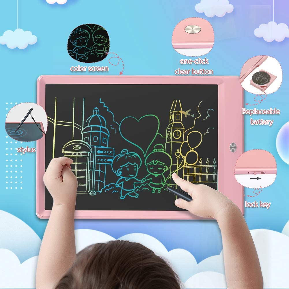 Black Electronic Drawing Tablet Erasable Reusable Electronic Writing Pads 15 Inch Colorful Toddler Doodle Board LCD-Writing-Tablet Toys for 2-6 Years Old Girls Boys Educational /& Learning Gifts