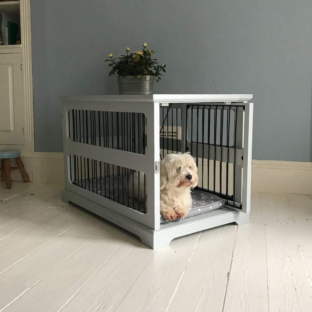Jaula de madera gris, para perro, con puerta corrediza: Amazon.es: Productos para mascotas
