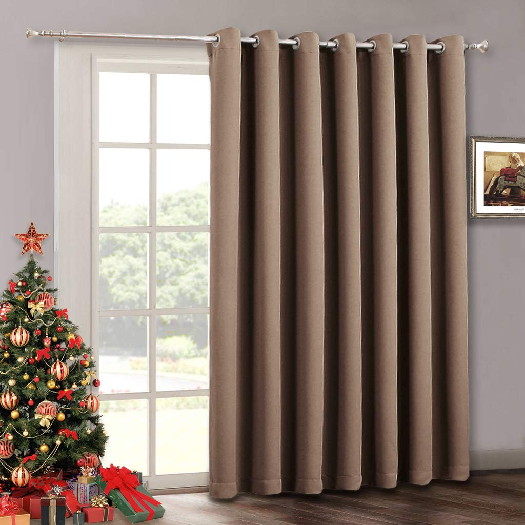 Large Sliding Door Curtain Panel - Blackout Verical Blinds Living Room Window Decorative Drape, Light Block Thermal Drape for Dining Farmhouse Cabin French Door, Wide 100 x Long 84, Cappuccino