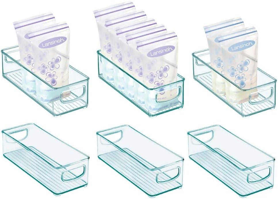 "mDesign Plastic Baby Food Kitchen Refrigerator, Cabinet, Pantry Storage Organizer Bin with Handles for Breast Milk, Pouches, Jars, Bottles, Formula, Juice - BPA Free, 10"" x 4"" x 3"", 6 Pack - Sea Blue"