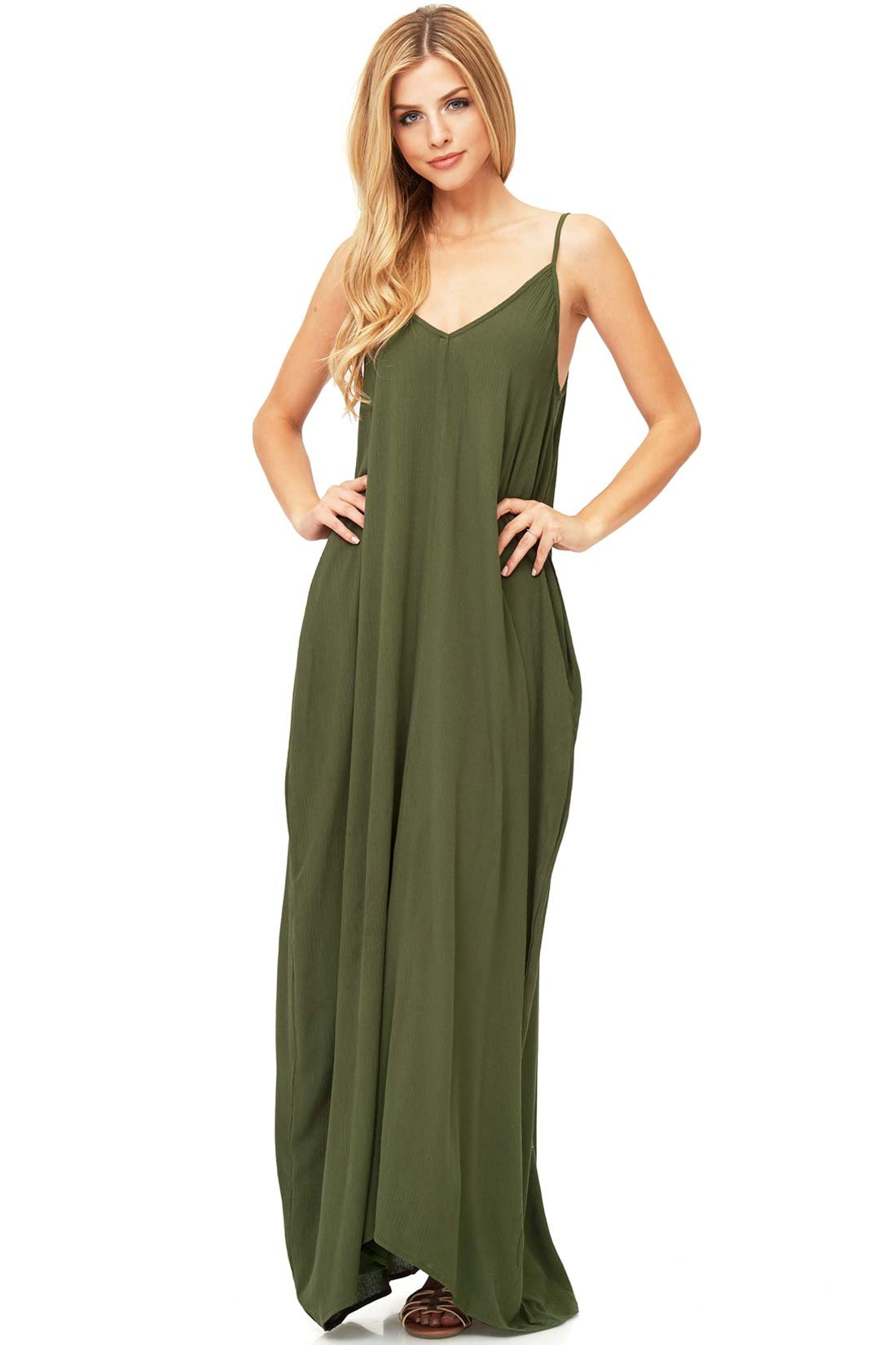 Love Stitch Women's Light Linen Simple Maxi Dress (M/L, Olive)