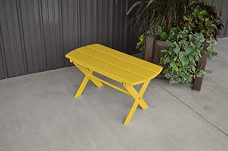 A U0026 L Furniture Yellow Pine Folding Coffee Table, Canary Yellow