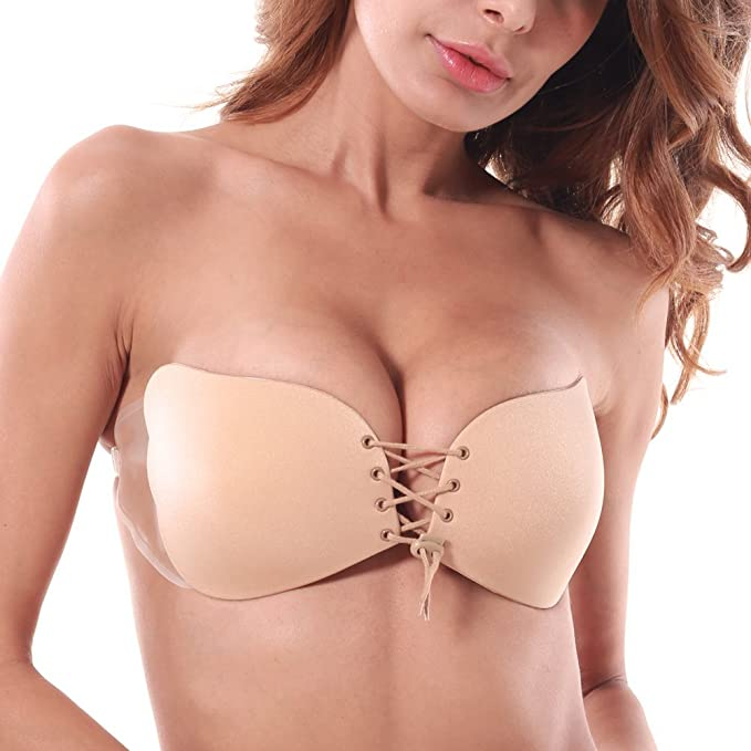 a5a31d9bec251 Adhesive Strapless Bras Backless Silicone Invisible Push Up Drawstring  Reusable Bras Clear Gel Adhesive Side Wings
