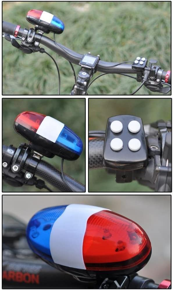 Quaanti Bike Bicycle 6 red Blue LED Light+4 Loud Siren Sound Trumpet Cycling Horn Bell Police Durable Waterproof bisiklet aksesuar Multicolor