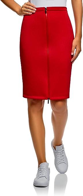 oodji Collection Mujer Falda de Punto con Cremallera: Amazon.es ...