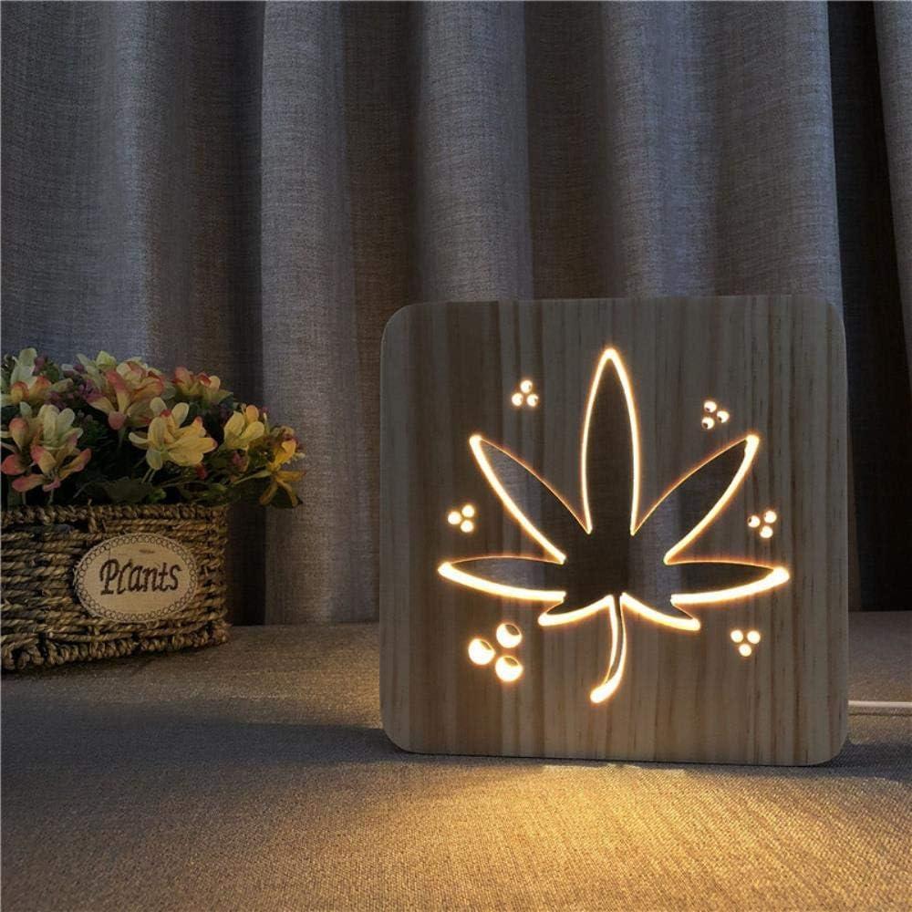 La luz de estilo Hoja de Marihuana en tallas de madera noche Noche principal novedad de la luz de la lámpara de madera hueca