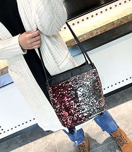 Liliam Crossbody Handbag Women Bucket for Girls Shoulder Gold Prom Sequins Sparkly Party Bag A461Aq