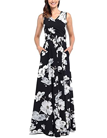 f7cbb9693fc2 Women's Summer V Neck Floral Maxi Dress Casual Long Dresses with Pockets  Black White