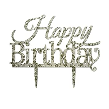 Happy Birthday Acrylic Cake Toppers Glitter Party Decorations Cp10 5 63 Inch Silver