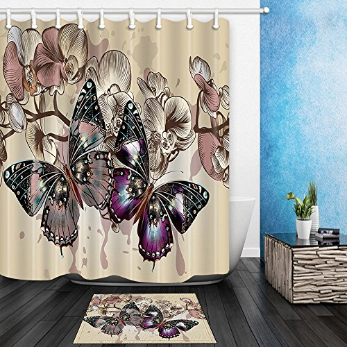 HNMQ Monarch Butterfly Decor Shower Curtain Bathroom, Spring Rustic Purple Wild Flowers, 69X70in Mildew Resistant Polyester Fabric Curtains Set 15.7x23.6in Flannel Non-Slip Floor Doormat Bath Rugs