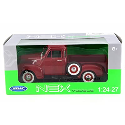 Welly 1953 Chevy 3100 Pick-Up Truck, Red 22087W-MJ-RD - 1/24 Scale Diecast Model Toy Car: Toys & Games