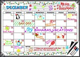 Flat Harmony Magnetic Whiteboard Calendar - 17x12 Monthly Dry Erase Board Planner for Refrigerators and Classrooms (3 Markers with Erasers Included)