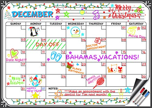 Flat Harmony Magnetic Whiteboard Calendar - 17x12 Monthly Dry Erase Board Planner for Refrigerators and Classrooms (3 Markers with Erasers Included) by Flat Harmony