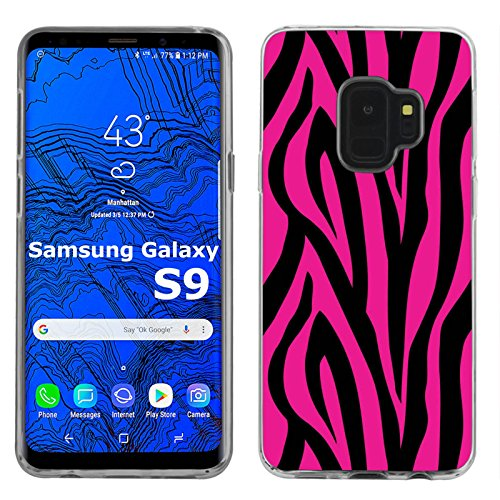 [Mobiflare] Ultraflex Thin Gel Phone Cover for Samsung Galaxy S9 2018 [Clear] Case [Pink and Black Zebra Print] ()