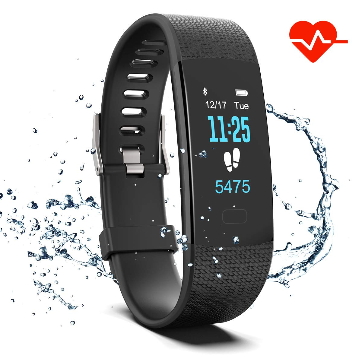 Fitness Tracker HR, Y1 Activity Tracker Watch with Heart Rate Monitor, Pedometer IP67 Waterproof Sleep Monitor Step Counter for Android & iPhone (Black)