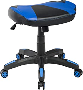 Giantex Multi-Use Gaming Footstool, Height Adjustable Faux Leather Spare Chair, 360° Swivel Rolling Stool Perfect for Gaming Chair, High Back Office Chair, Ergonomic Racing Chair (Blue)