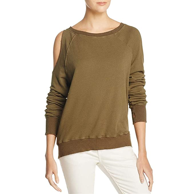 1b330f28cf076 Amazon.com  Pam   Gela Womens Cold-Shoulder Distressed Sweatshirt ...