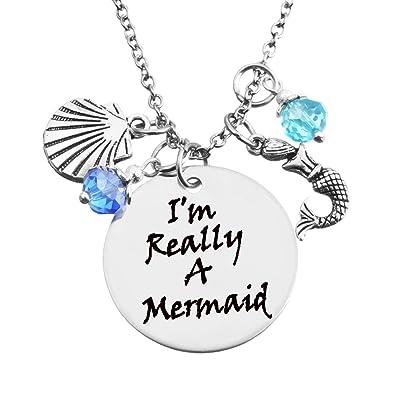 Mjartoria rhinestone im really a mermaid engraved pendant silver mjartoria rhinestone quotim really a mermaidquot engraved pendant silver aloadofball Images