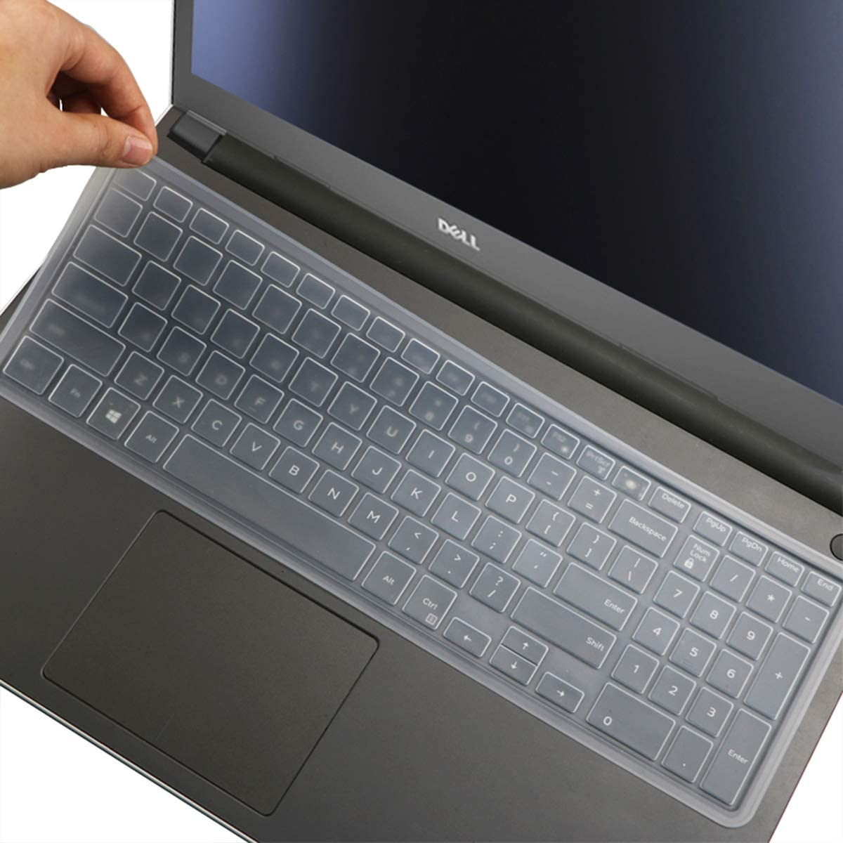 Keyboard Cover for Dell Vostro 15 3000 Series 3591 3590 3584 3583 3562 3560 3558 3550 3549 3546, Dell Vostro 15 5000 7000 Series 5568 7570 7580 US Keyboard Cover (with Numeric Keypad) -Clean