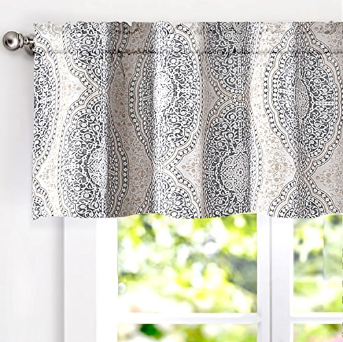 18 Inch Valance - DriftAway Adrianne Damask and Floral Pattern Window Curtain Valance 52 Inch by 18 Inch Beige and Gray