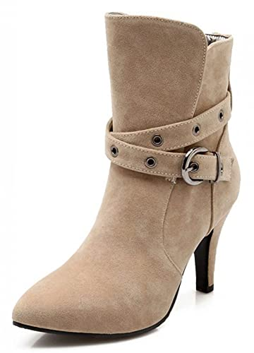 Women's Dressy Buckled Pointed Toe High Heels Stiletto Frosted Ankle Boots Short Booties