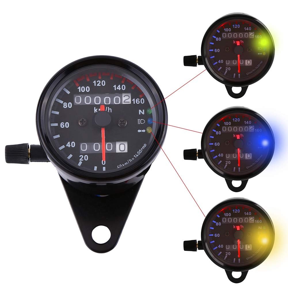 Cuque 1pc 12V Double Indicating Mileage Tachometer Odometer Speedometer Instrument Signal Double Digital Display Km//H Suitable for Most Motorcycles Universal silver
