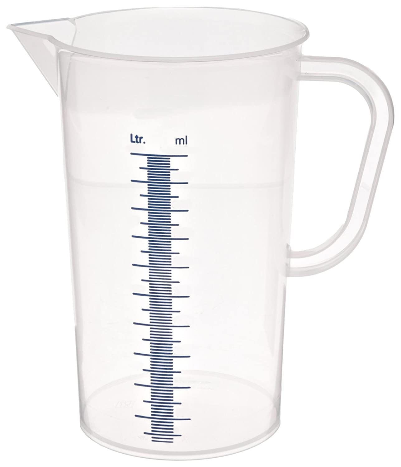 5000mL Capacity Pack of 6 Vitlab Polypropylene Graduated Pitcher with Blue Molded Graduations