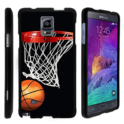 Galaxy Note 4 Case, Perfect Fit Cell Phone Case Hard Cover with Cute Design Patterns for Samsung Galaxy Note 4 SM-G910 (AT&T, Sprint, T Mobile, US Cellular, Verizon) from MINITURTLE | Includes Clear Screen Protector and Stylus Pen - Basketball Swish - Basketball Case Pack